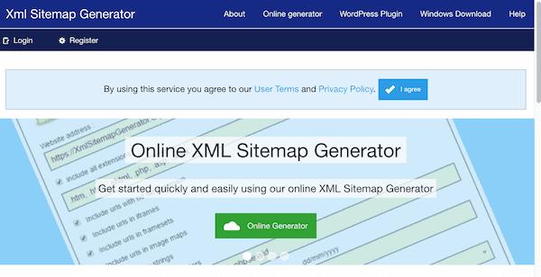 screenshot of XML Sitemap Generator's website